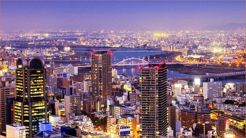Осака ночной вид фото